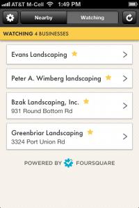 Landcape Contractor Watch List on Perch App