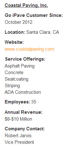 Coastal Paving Company Information
