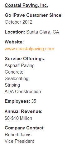 Coastal Paving Company Information