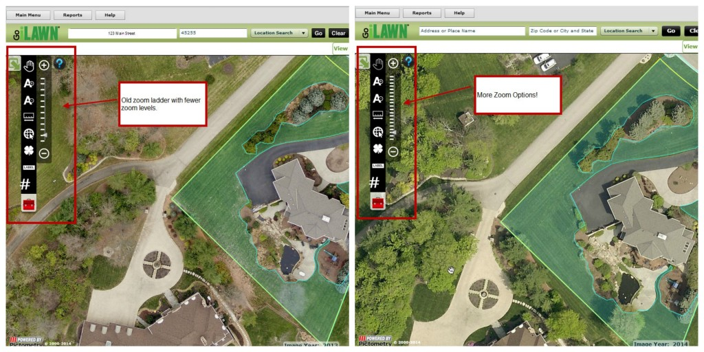 Go iLawn and Go iPave Zoom ladder options added before and after