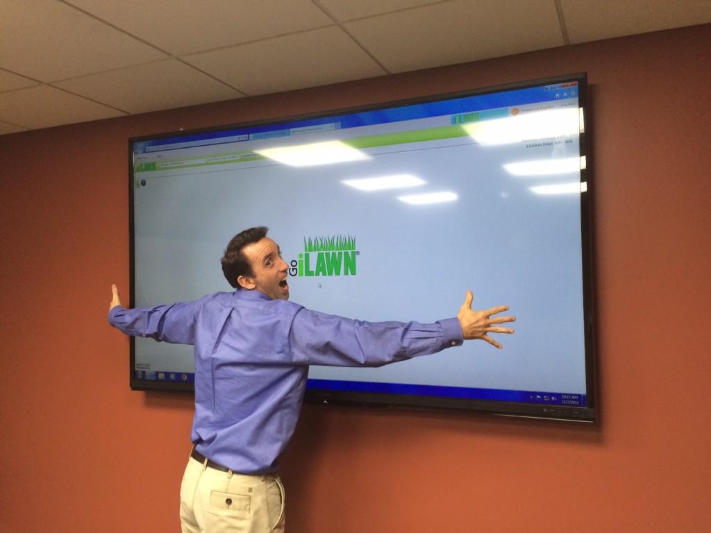 Bob Martin hugging big screen