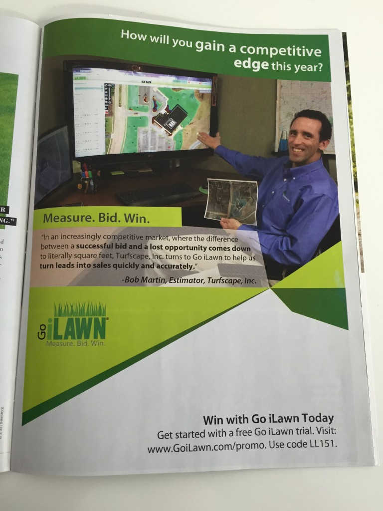 Bob Martin, estimator at Turfscape, Inc. in Go iLawn's Lawn and Landscape ad.