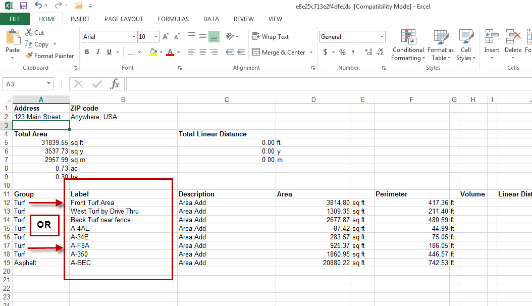 Go iLawn excel spreadsheet with labels